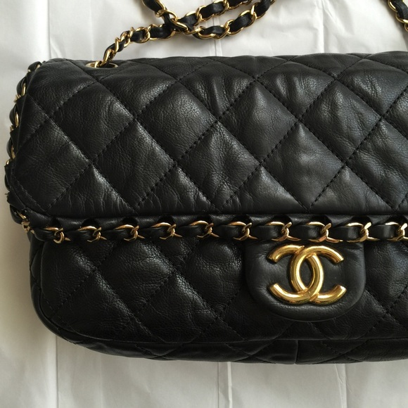 d39f11c0660a05 CHANEL Handbags - CHANEL black chain me quilted classic flap bag