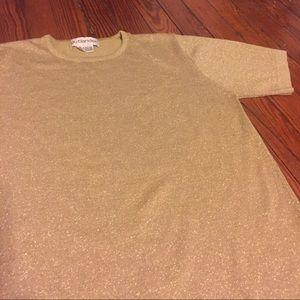 Vintage Gold Short Sleeve Sweater Top