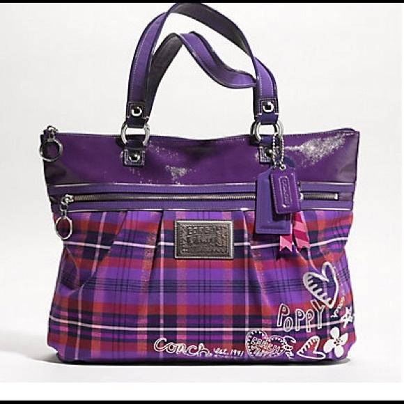 Coach Bags Poppy Tartan Glam Purple Tote Poshmark