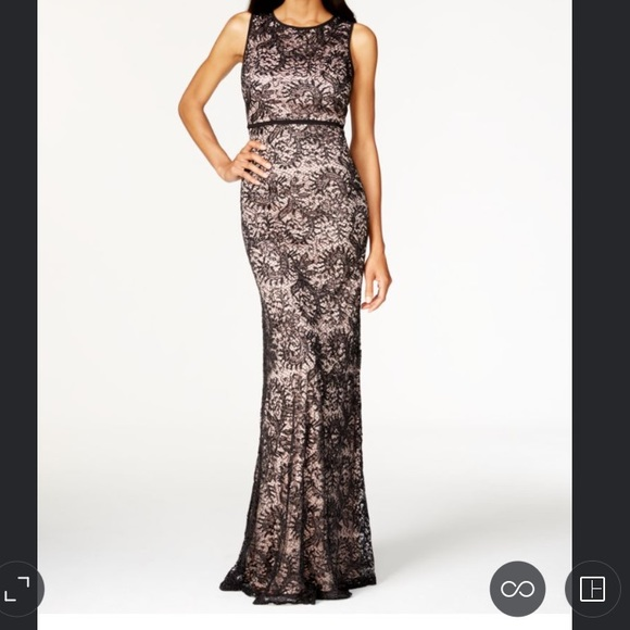 Night Way Dresses | Navy Blue Lace Sequined Gown With Nude Lining ...