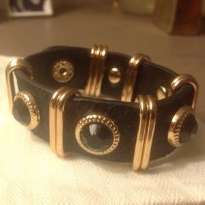 Black leather bracelet with gold & stone accents