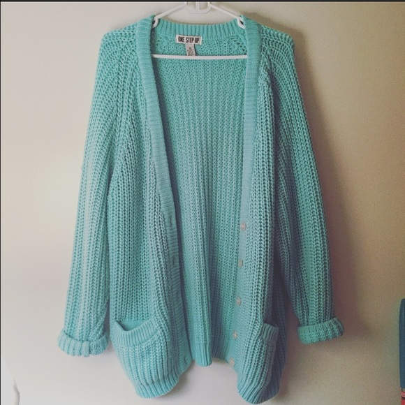 5a30fd0900 Mint sky blue cable knit button oversized cardigan.  M 570da1647f0a05d6d000b750. Other Sweaters ...