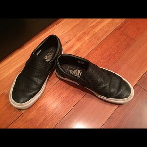 69b198492ae789 Vans Shoes - Vans Woven Leather Slip Ons Size 4