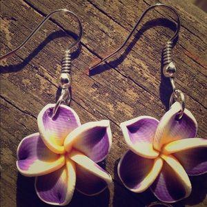 Jewelry - Hawaiian plumeria flower earrings