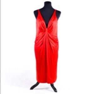 Carmen Marc Valvo designer front-knot dress.