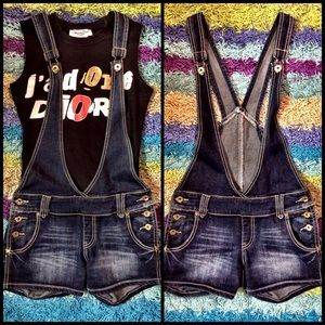 Blue Gold Distressed Denim Jean Overalls Shorts