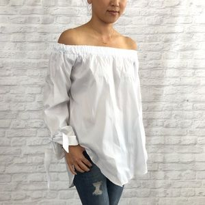 Tops - White Off the Shoulder Top With Wrist Tie