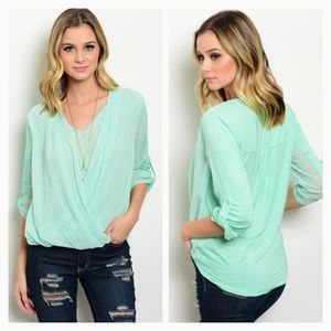 Mint surplice blouse