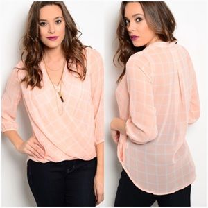 Peachy pink plaid surplice blouse