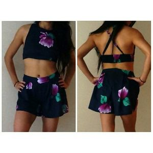 choies Dresses & Skirts - Navy and pink floral halter crop top shorts set