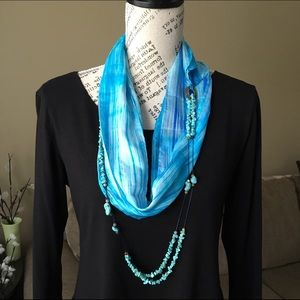 Hand dyed 100% silk & turquoise jewelry scarf