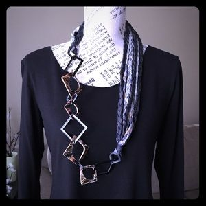 Geometric Shell Bead & Braided Silk Infinity Scarf