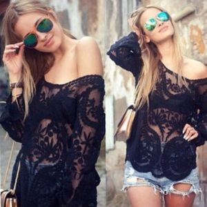 007 embroidered crochet long sleeve top❤️