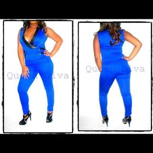 Pants - New Royal cobalt blue knit tuxedo sailor jumpsuit