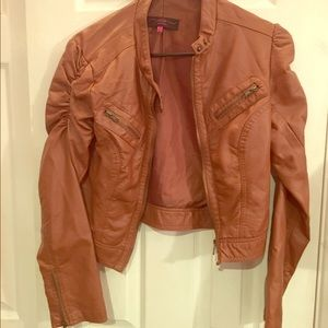 (S) Faux Leather Tan/Light Brown Leather Jacket