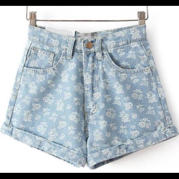 Denim Shorts Poshmark Jeans Van Floral American Apparel Hoog Getailleerde PXiZukOT