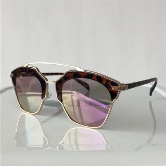 Accessories - Cat Eye Double Bridge Sunglasses w/ Purple Lenses
