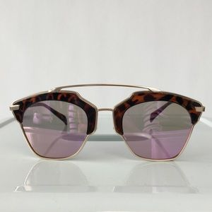 Accessories - Cat Eye Double Bridge Sunglasses w/ Purple Lenses
