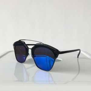 Accessories - Black Cat Eye Sunglasses With Blue Lenses