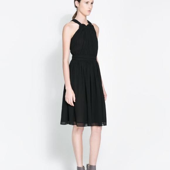 38279aa9191 Zara Black Twist Chiffon Halter Dress