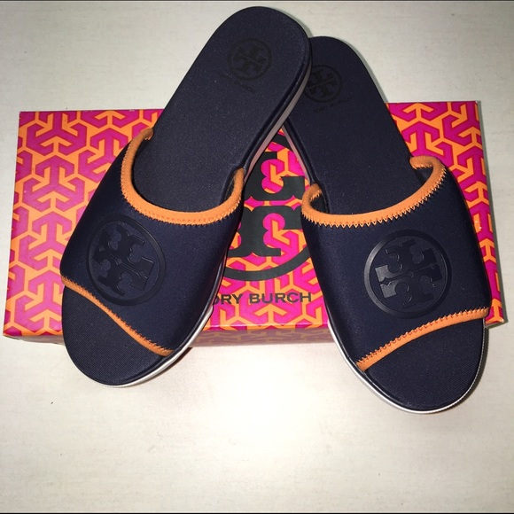 596be448411630 Tory Burch NEOPRENE Slide Sandals in Navy Orange NWT