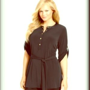 Calvin Klein Tops - Calvin Klein Button Front Black Tunic Top size XL