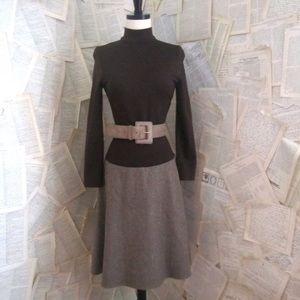 Vintage 70s Brown TWEED Winter Dress