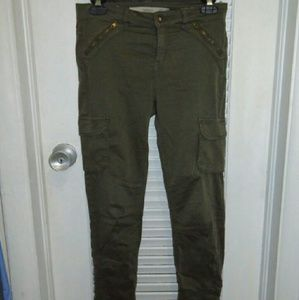 Zara Trafaluc Skinny Army Green Jeans Ankle Button