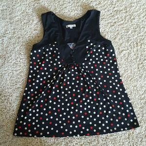 Medium polka-dot short sleeved blouse
