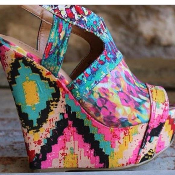 Multi Color Wedge Heels