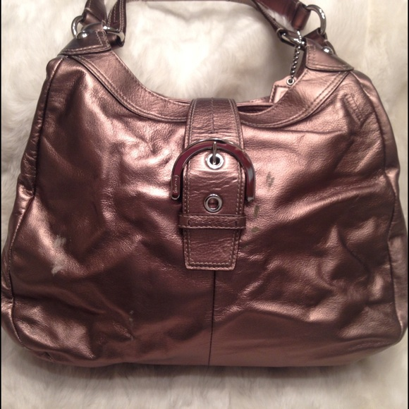 b63831378a Coach Handbags - Authentic COACH bronze LEATHER Shoulder Bag