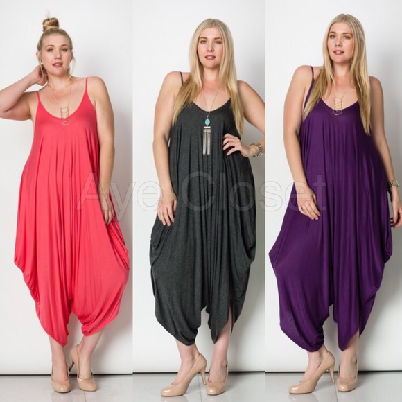 d11fa55c30da8 New plus size harem oversized jumpsuit boho dress