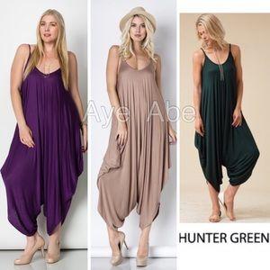 New plus size harem oversized jumpsuit boho dress