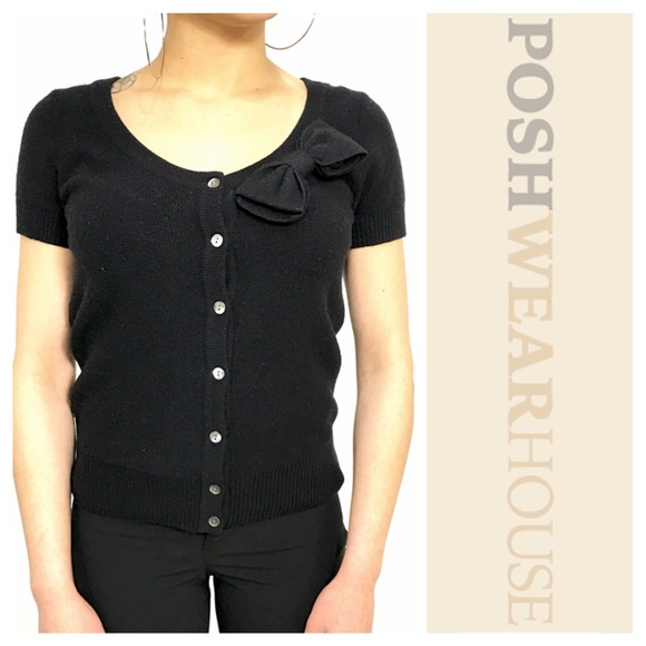 J. Crew - Black Bow Short Sleeve Cardigan from Poshwearhouse's ...