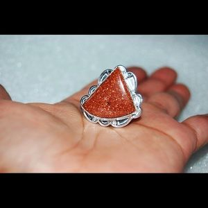 handmade & handcrafted gemstone jewelry Jewelry - Large Triangular Sunstone Statement Ring Size 8