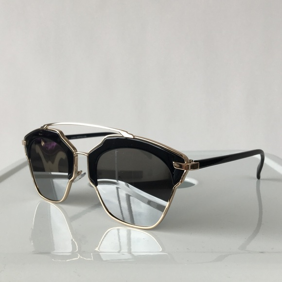 Accessories - Black & Silver Mirrored Cat Eye Sunglasses