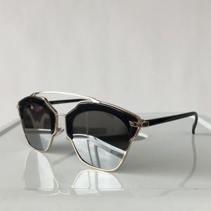 Black & Silver Mirrored Cat Eye Sunglasses