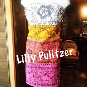 Lilly Pulitzer Floral Bird Bowen Strapless dress