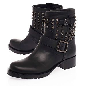 Valentino Shoes - Authentic Valentino Noir Rockstud Moto Boots