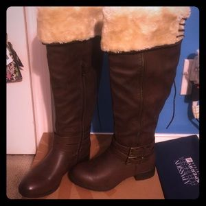 JustFab Shoes - Justfab Leather Lace boots Faux Fur sz 7 Brown