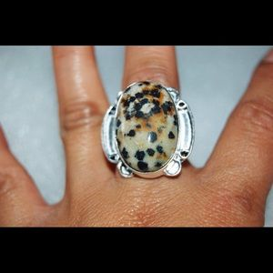 Large Dalmation Jasper Ring Size 8