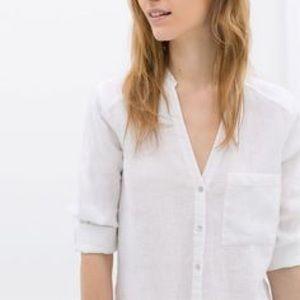 ZARA Linen Blouse, Medium
