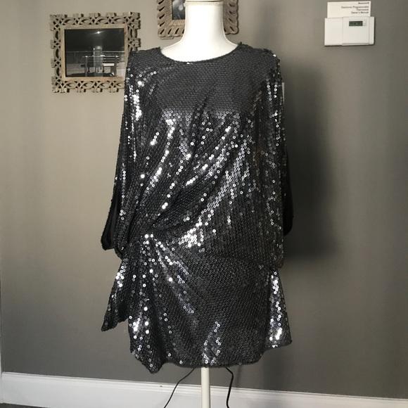 21b0e4d8f95 Julian Joyce pewter sequin cocktail prom dress