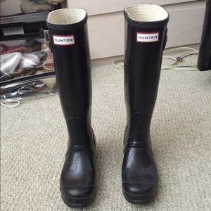 Hunter Tall Rain Boots Shiny