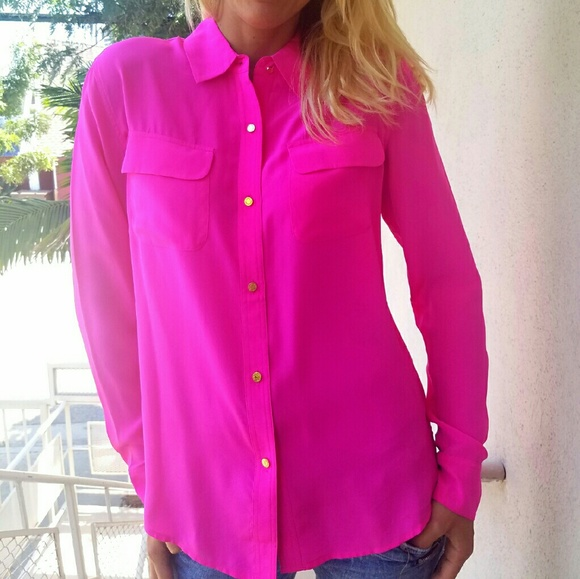 09f91e42e6d8a Juicy Couture Tops - Juicy Couture stunning hot pink silk blouse