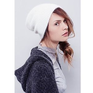 Free People Accessories - Free People Ivory Soft Fuzzy Beanie