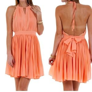 Coral Low Back Pleated Dress