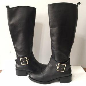 Zara black leather riding boots
