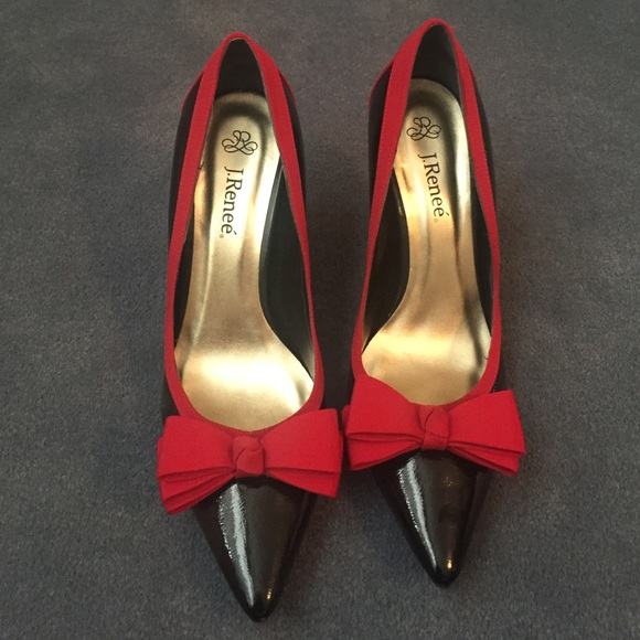 862272cda1c J. Renee Shoes - J.Renee black pumps with red bow and trim size9