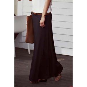 Basic Black Banded Waist Flared Maxi Skirt
